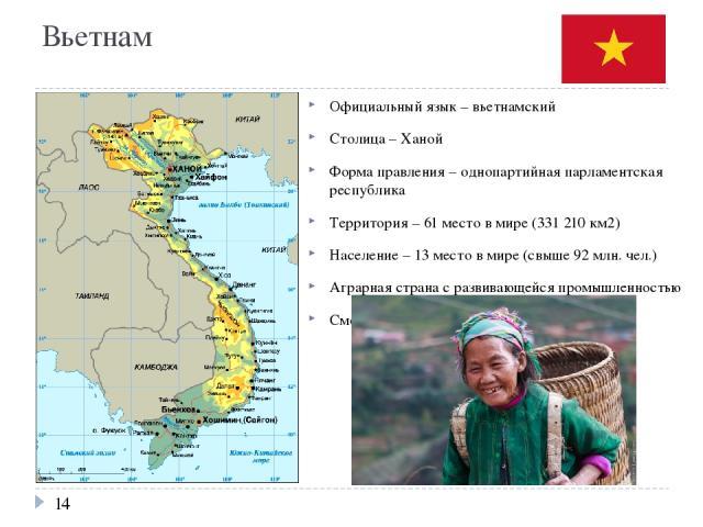 Вьетнам Официальный язык – вьетнамский Столица – Ханой Форма правления – однопартийная парламентская республика Территория – 61 место в мире (331 210 км2) Население – 13 место в мире (свыше 92 млн. чел.) Аграрная страна с развивающейся промышленност…