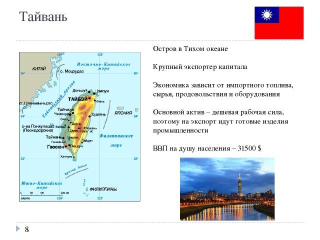 Тайвань Остров в Тихом океане Крупный экспортер капитала Экономика зависит от импортного топлива, сырья, продовольствия и оборудования Основной актив – дешевая рабочая сила, поэтому на экспорт идут готовые изделия промышленности ВВП на душу населени…