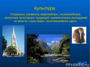 Культура. Отражены элементы европейских, полинезийских, азиатских культурных тра