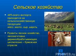 Сельское хозяйство 46% всего экспорта приходится на сельскохозяйственную продукц