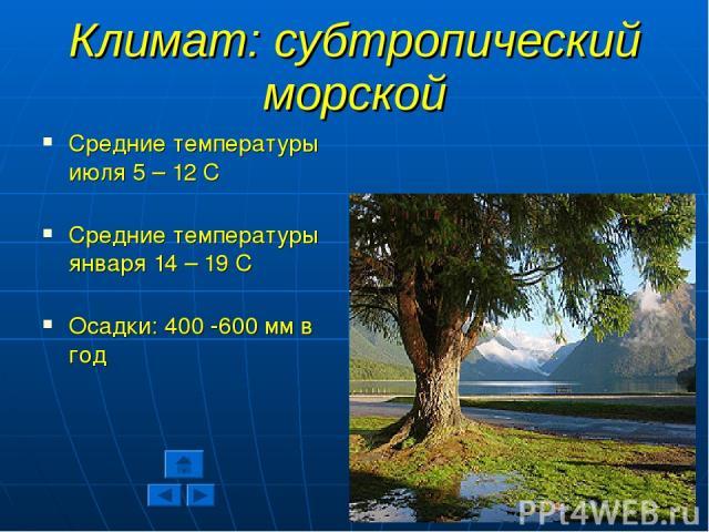 Климат: субтропический морской Средние температуры июля 5 – 12 С Средние температуры января 14 – 19 С Осадки: 400 -600 мм в год
