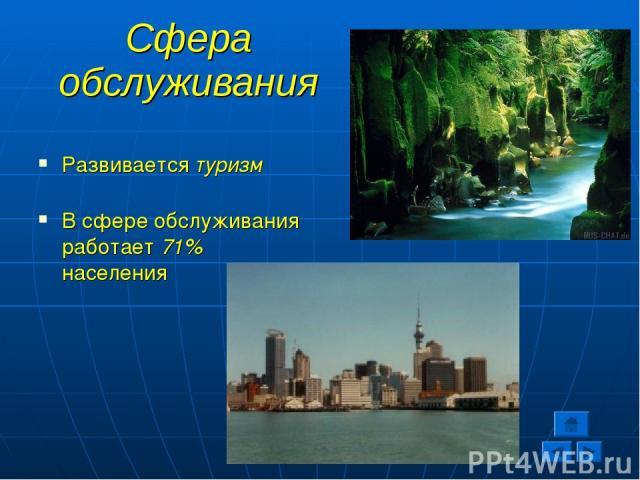 Сфера обслуживания Развивается туризм В сфере обслуживания работает 71% населения
