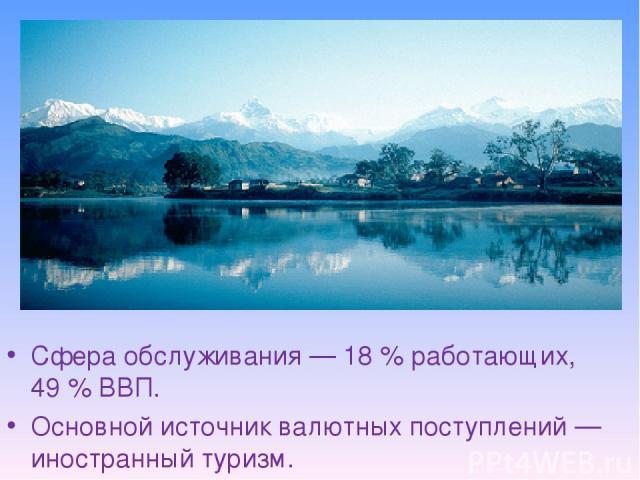 Сфера обслуживания— 18% работающих, 49% ВВП. Основной источник валютных поступлений— иностранный туризм.