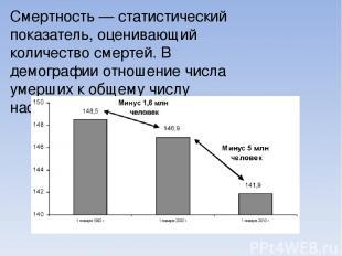 Сме ртность — статистический показатель, оценивающий количество смертей. В демог