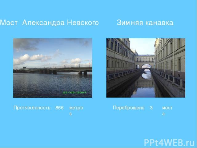Мост Александра Невского Зимняя канавка Переброшено 3 моста Протяжённость 866 метров