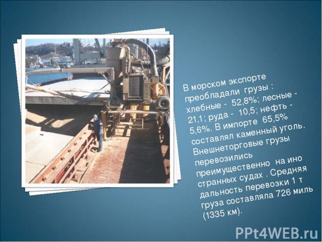 В морском экспорте преобладали грузы : хлебные - 52,8%; лесные - 21,1; руда - 10,5; нефть - 5,6%. В импорте 65,5% составлял каменный уголь. Внешнеторговые грузы перевозились преимущественно на ино странных судах . Средняя дальность перевозки …