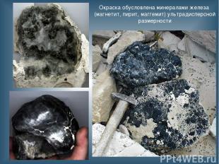 Окраска обусловлена минералами железа (магнетит, пирит, маггемит) ультрадисперсн