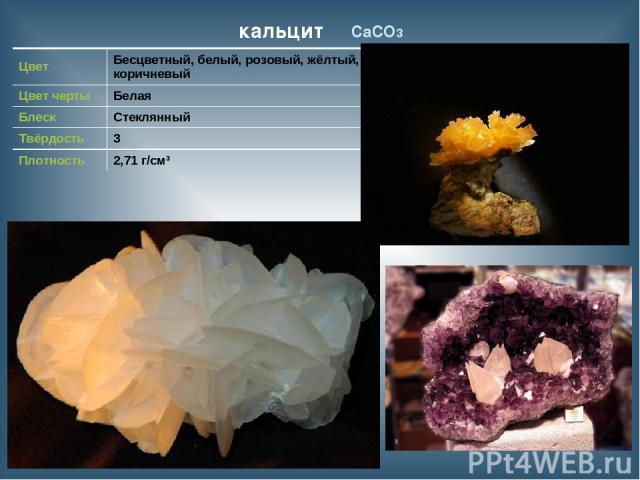 кальцит CaCO3 Цвет Бесцветный, белый, розовый, жёлтый, коричневый Цвет черты Белая Блеск Стеклянный Твёрдость 3 Плотность 2,71 г/см³