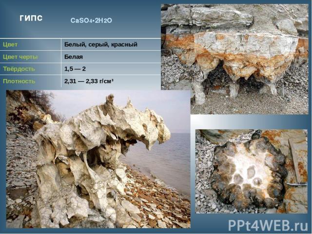 гипс CaSO4•2H2O Цвет Белый, серый, красный Цвет черты Белая Твёрдость 1,5 — 2 Плотность 2,31 — 2,33 г/см³
