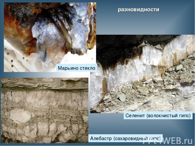 разновидности Селенит (волокнистый гипс) Марьино стекло Алебастр (сахаровидный гипс)