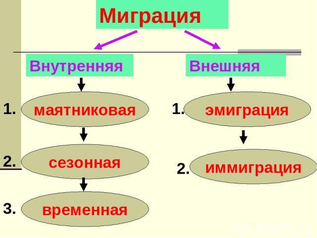 Миграция Внутренняя Внешняя маятниковая сезонная временная эмиграция иммиграция 1. 2. 3. 1. 2.