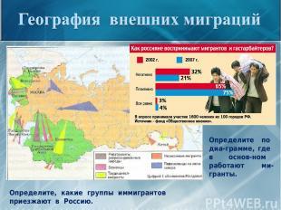 Определите, какие группы иммигрантов приезжают в Россию. Определите по диа-грамм