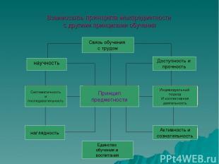 Взаимосвязь принципа межпредметности с другими принципами обучения Связь обучени