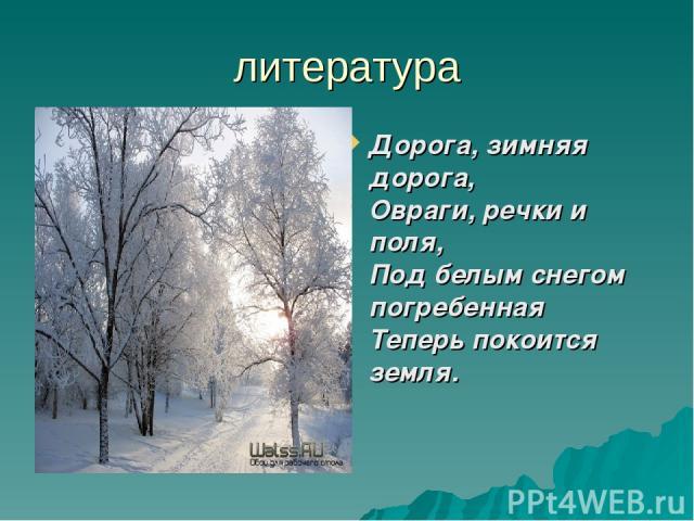 литература Дорога, зимняя дорога, Овраги, речки и поля, Под белым снегом погребенная Теперь покоится земля.