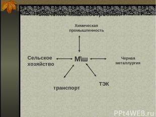 Значение машиностроения М\ш М\ш Химическая промышленность Черная металлургия Сел