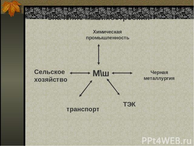 Значение машиностроения М\ш М\ш Химическая промышленность Черная металлургия Сельское хозяйство транспорт ТЭК