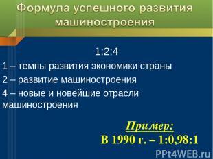 1:2:4 1 – темпы развития экономики страны 2 – развитие машиностроения 4 – новые