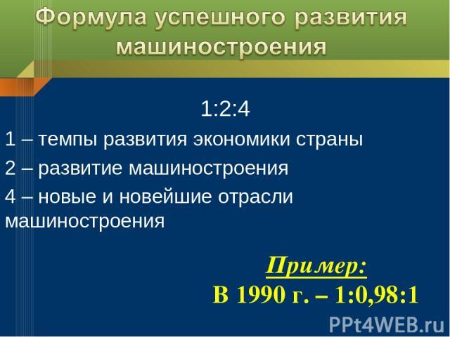 1:2:4 1 – темпы развития экономики страны 2 – развитие машиностроения 4 – новые и новейшие отрасли машиностроения Пример: В 1990 г. – 1:0,98:1