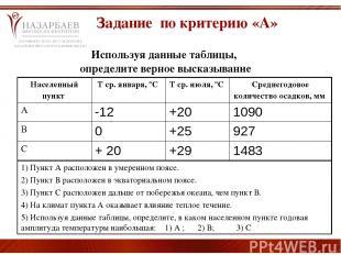 Используя данные таблицы, определите верное высказывание Задание по критерию «А»