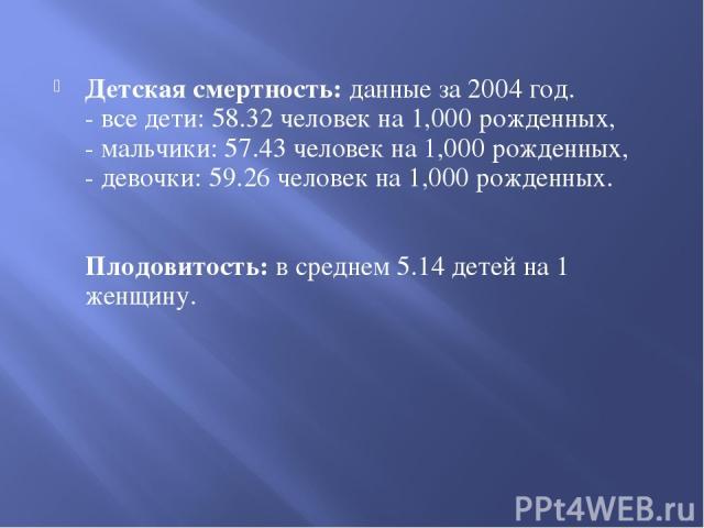 Детская смертность: данные за 2004 год. - все дети: 58.32 человек на 1,000 рожденных, - мальчики: 57.43 человек на 1,000 рожденных, - девочки: 59.26 человек на 1,000 рожденных. Плодовитость: в среднем 5.14 детей на 1 женщину.