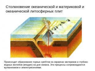 Столкновение океанической и материковой и океанической литосферных плит Происход