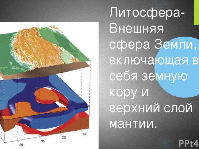 Литосфера-Внешняя сфера Земли, включающая в себя земную кору и верхний слой мантии.