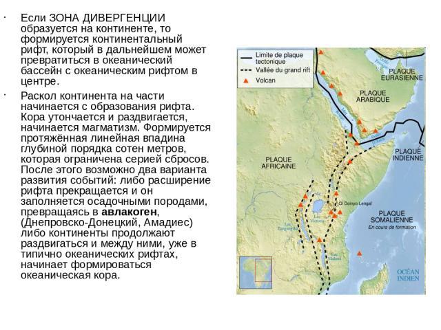 Если ЗОНА ДИВЕРГЕНЦИИ образуется на континенте, то формируется континентальный рифт, который в дальнейшем может превратиться в океанический бассейн с океаническим рифтом в центре. Раскол континента на части начинается с образования рифта. Кора утонч…