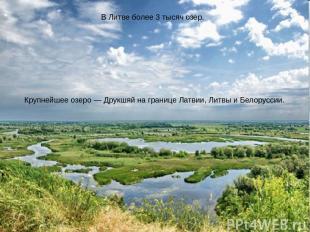 В Литве более 3 тысяч озер. Крупнейшее озеро— Друкшяй на границе Латвии, Литвы