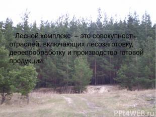 Лесной комплекс – это совокупность отраслей, включающих лесозаготовку, деревообр
