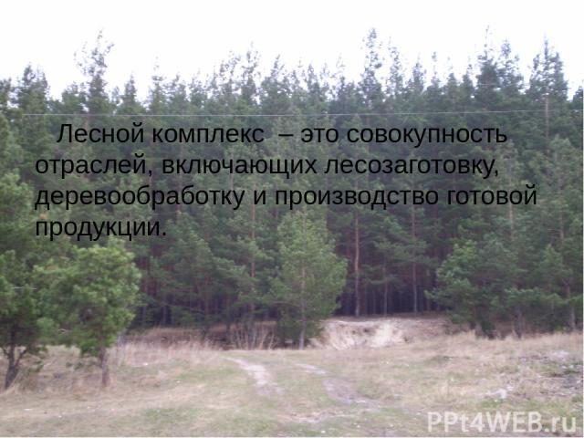 Лесной комплекс – это совокупность отраслей, включающих лесозаготовку, деревообработку и производство готовой продукции.