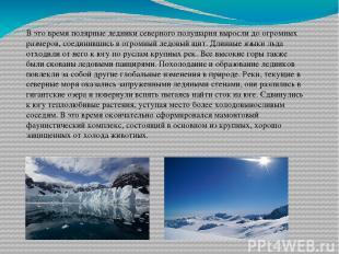 В это время полярные ледники северного полушария выросли до огромных размеров, с