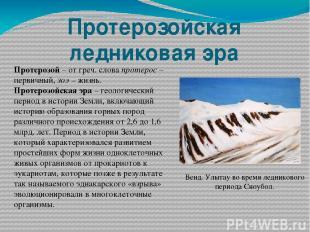 Протерозойская ледниковая эра Протерозой – от греч. слова протерос – первичный,