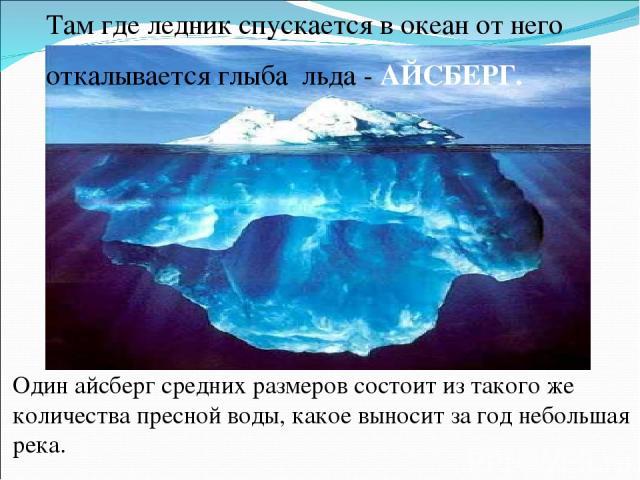 Один айсберг средних размеров состоит из такого же количества пресной воды, какое выносит за год небольшая река. Там где ледник спускается в океан от него откалывается глыба льда - АЙСБЕРГ.