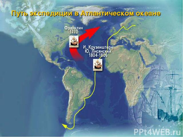 Путь экспедиции в Атлантическом океане