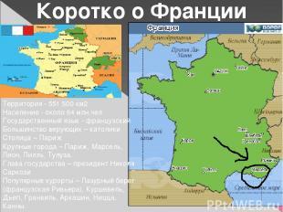 Коротко о Франции Территория - 551500 км2 Население - около 64 млн.чел Государс