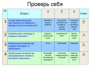Проверь себя № Вопрос а б в Ответ 1 Следствием большой протяженности Евразии с з