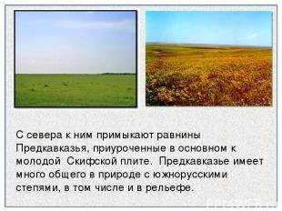 С севера к ним примыкают равнины Предкавказья, приуроченные в основном к молодой