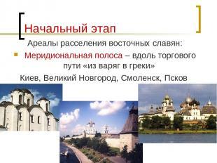 Начальный этап Ареалы расселения восточных славян: Меридиональная полоса – вдоль