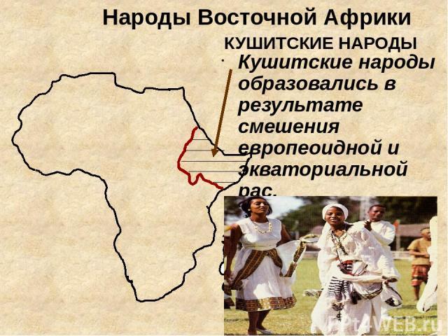 Народы Восточной Африки КУШИТСКИЕ НАРОДЫ Кушитские народы образовались в результате смешения европеоидной и экваториальной рас. Народы: эфиопы, амхара , сомали