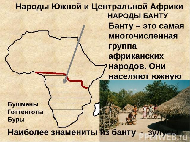 Народы Южной и Центральной Африки НАРОДЫ БАНТУ Банту – это самая многочисленная группа африканских народов. Они населяют южную половину материка. Наиболее знамениты из банту - зулусы Бушмены Готтентоты Буры