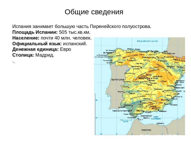 Общие сведения Испания занимает большую часть Пиренейского полуострова. Площадь Испании: 505 тыс.кв.км. Население: почти 40 млн. человек. Официальный язык: испанский. Денежная единица: Евро Столица: Мадрид. .