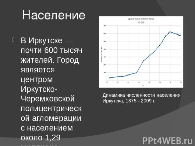 Население В Иркутске — почти 600 тысяч жителей. Город является центром Иркутско-Черемховской полицентрической агломерации с населением около 1,29 миллиона человек (17—19-е место в РФ). Динамика численности населения Иркутска, 1875 - 2009 г.