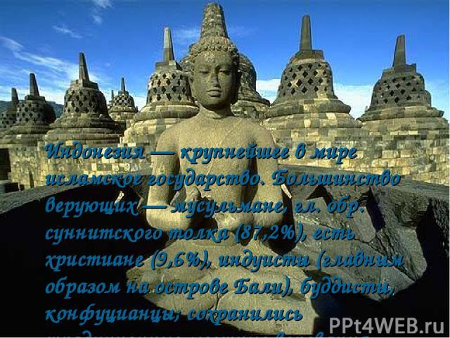 Индонезия — крупнейшее в мире исламское государство. Большинство верующих — мусульмане, гл. обр. суннитского толка (87,2%), есть христиане (9,6%), индуисты (главным образом на острове Бали), буддисты, конфуцианцы; сохранились традиционные местные ве…