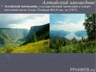 Алтайский заповедник Алтайский заповедник,государственный заповедник в северо-в