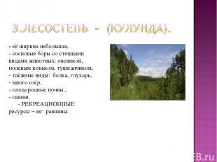 - её ширина небольшая, - сосновые боры со степными видами животных: овсянкой, по