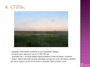 - занимают небольшие площади на юге Западной Сибири, - осадков здесь выпадает ма