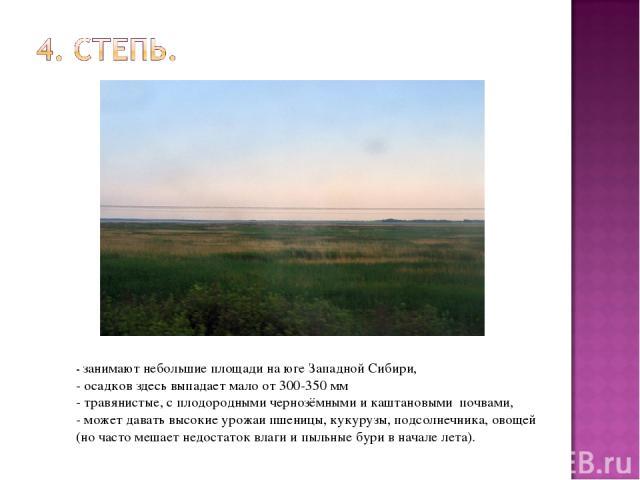 - занимают небольшие площади на юге Западной Сибири, - осадков здесь выпадает мало от 300-350 мм - травянистые, с плодородными чернозёмными и каштановыми почвами, - может давать высокие урожаи пшеницы, кукурузы, подсолнечника, овощей (но часто мешае…