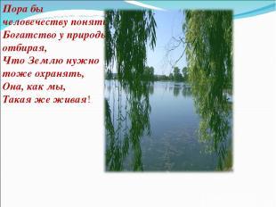 Пора бы человечеству понять, Богатство у природы отбирая, Что Землю нужно тоже о