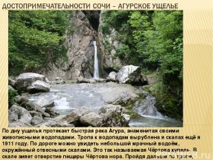 По дну ущелья протекает быстрая река Агура, знаменитая своими живописными водопа
