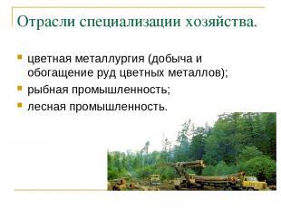 Отрасли специализации хозяйства. цветная металлургия (добыча и обогащение руд цв